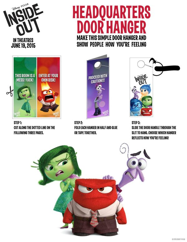 Free Printable Disney Pixar Inside Out Door Hanger Craft
