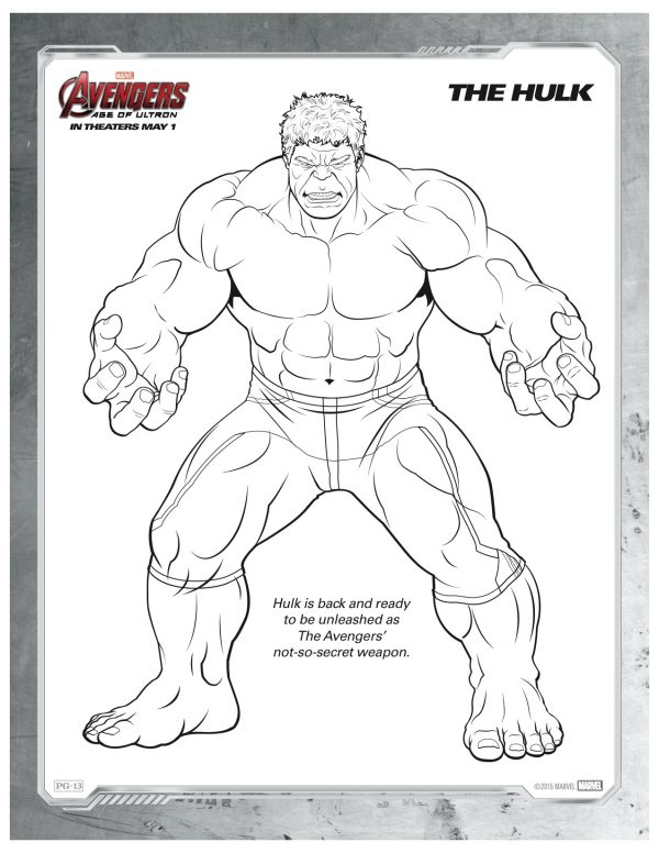 Hulk Coloring Page Free Marvel