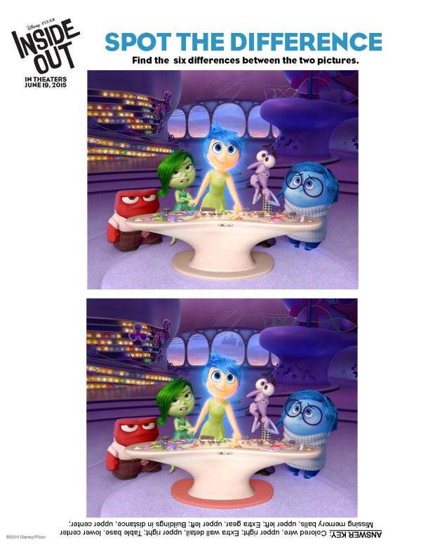 Disney Pixar Inside Out Spot The Difference Activity Sheet