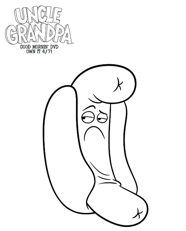 cartoon network uncle grandpa coloring pages | Free Printable Uncle Grandpa Hot Dog Person Coloring Page ...