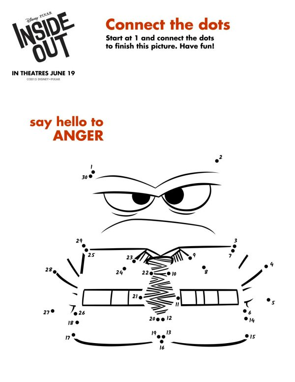 Disney Inside Out Anger Connect the Dots Coloring Page