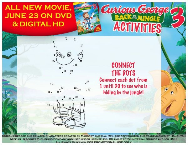 Free Printable Curious George Connect the Dots