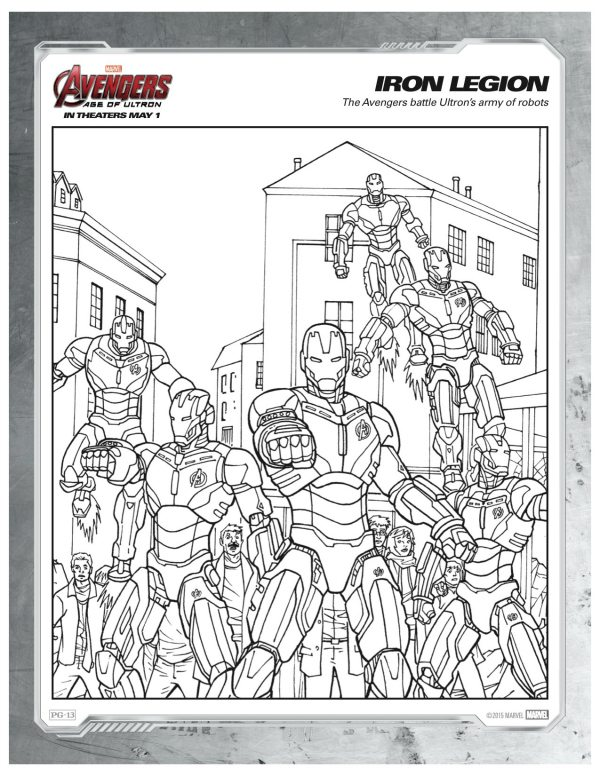 Avengers Christmas Coloring Pages : Marvel avengers iron legion coloring page mama likes this