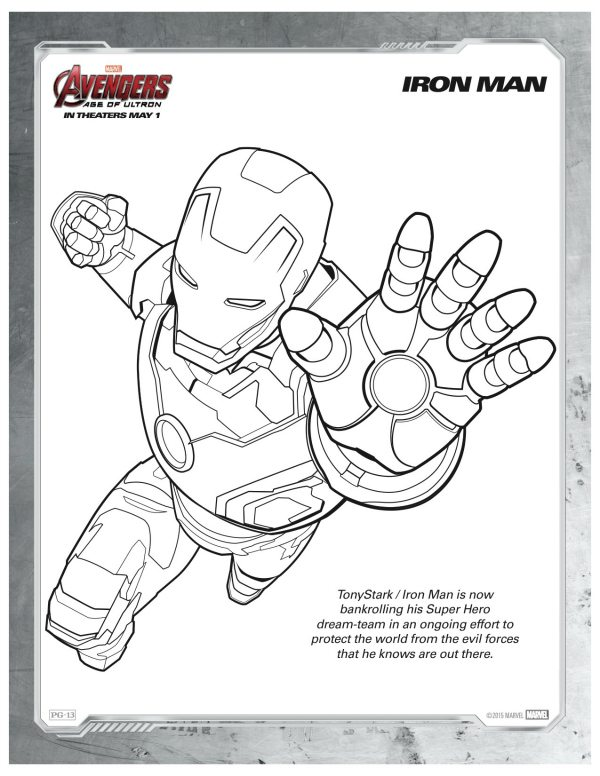 Free Printable Marvel Avengers Iron Man Coloring Page ...