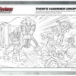 Marvel Avengers Coloring Page – Thor's Hammer Drops