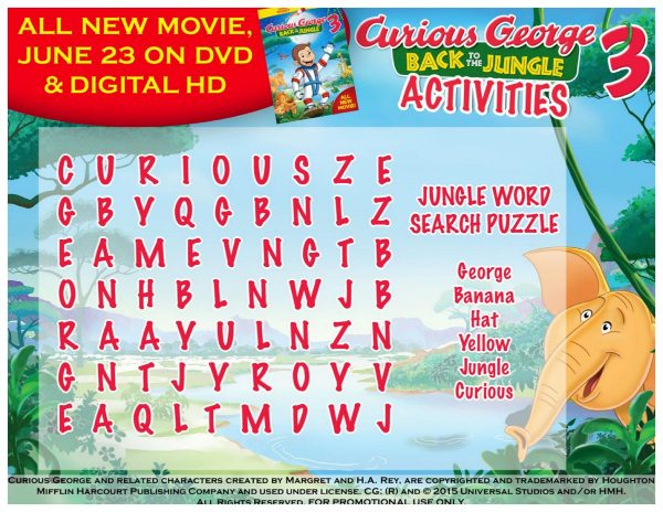 Free Printable Curious George Jungle Word Search Puzzle