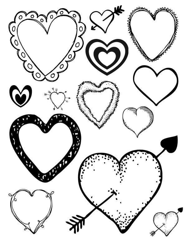 Free Printable Loving Hearts Coloring Pag