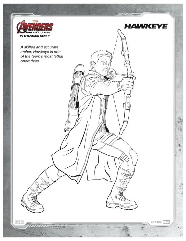 Marvel Avengers Age Of Ultron Hawkeye Coloring Page