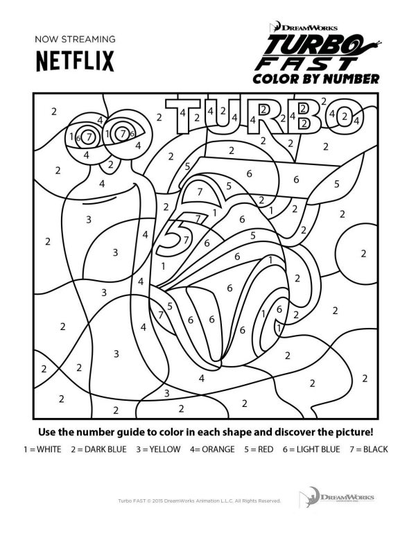 Printable Turbo Fast Color by Number
