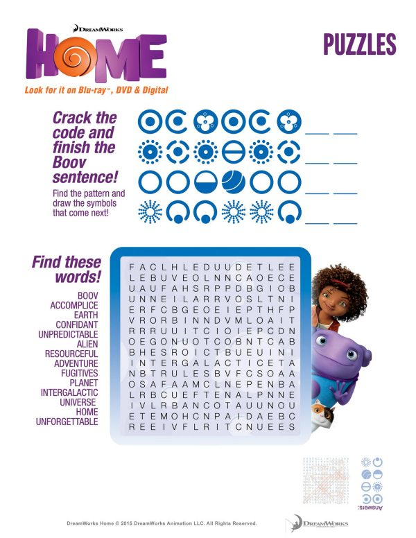 Free DreamWorks Home Printable Word Search Puzzle Page