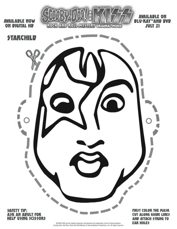 Free printable scooby doo kiss starchild mask craft for Kiss mask template