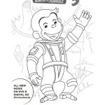 Astronaut Curious George Free Printable Coloring Page