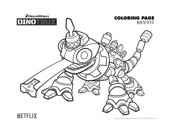 Free Printable Dinotrux Revvit Coloring Page