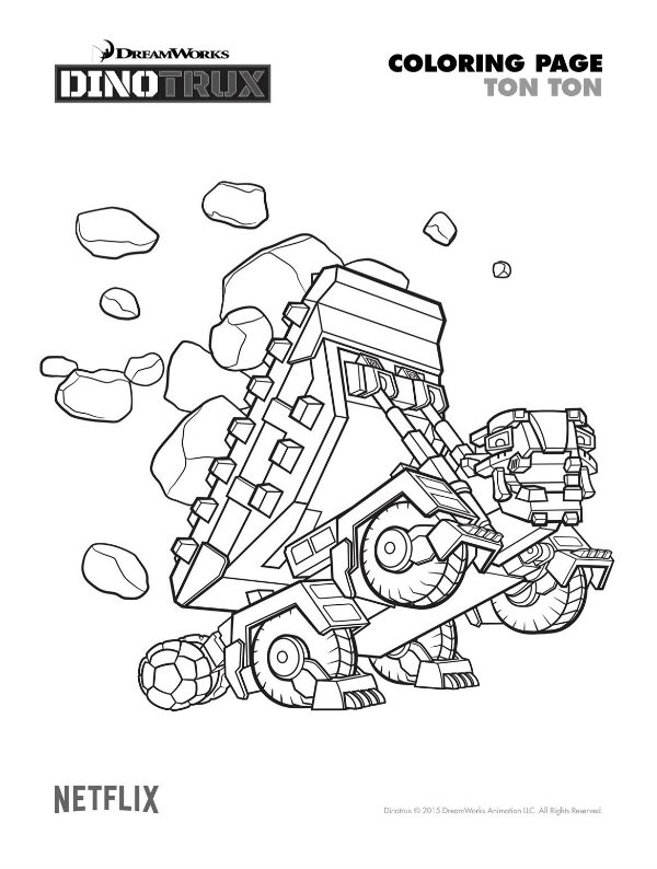 Free printable dinotrux ton ton coloring page mama likes for Dinotrux coloring pages