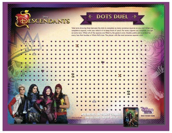 Free Printable Disney Descendants Dots Duel Game Mama
