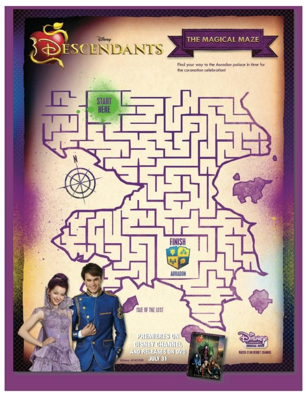 Free Printable Disney Descendants Maze #disney #descendants #freeprintable #maze #printablemaze
