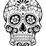 Printable Day of the Dead Sugar Skull Coloring Page #1