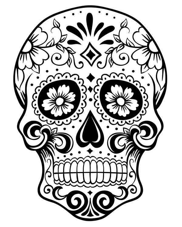 Printable Day of the Dead Sugar Skull Coloring Page #1 ...