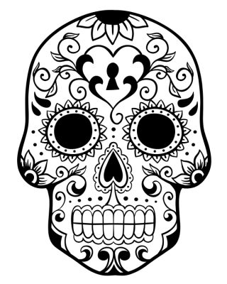 Printable Day of the Dead Sugar Skull Coloring Page #2