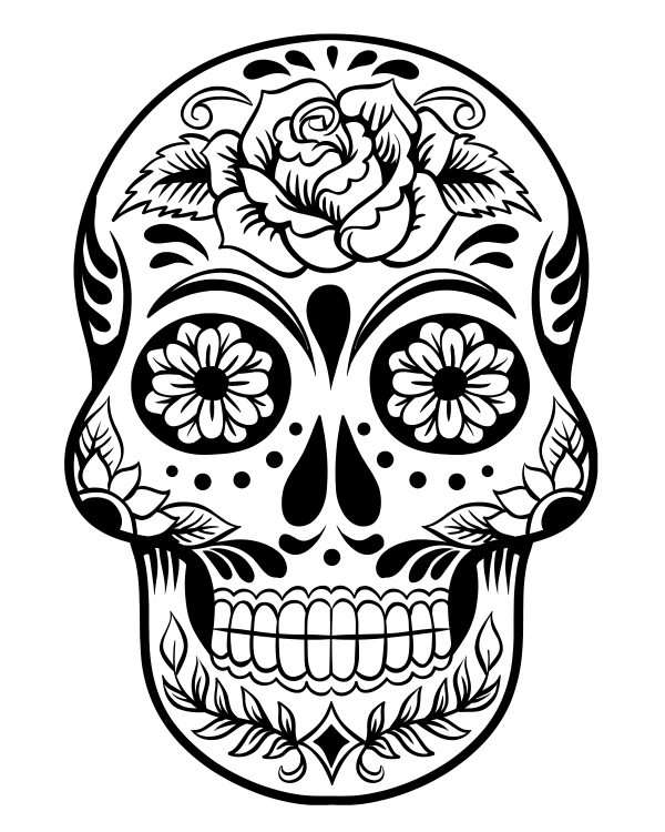 Printable Sugar Skull Day of the Dead Coloring Page | Mama ...