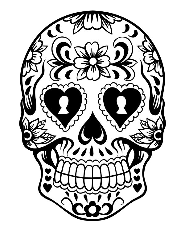 Free Printable Sugar Skull Day of The Dead Coloring Page #dayofthedead #diadelosmuertos #sugarskull #skull #freeprintable #coloringpage #halloween