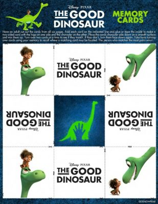 Free Printable Disney Pixar The Good Dinosaur Memory Game