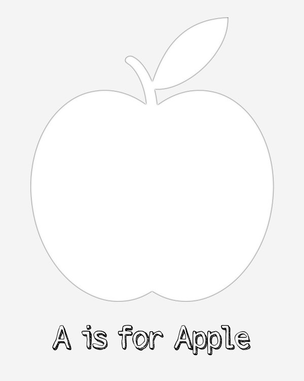 Free Printable A is for Apple Coloring Page