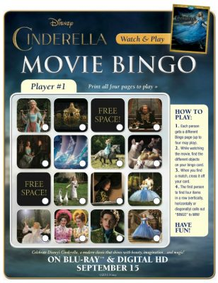 Disney Cinderella Printable Movie Bingo Game