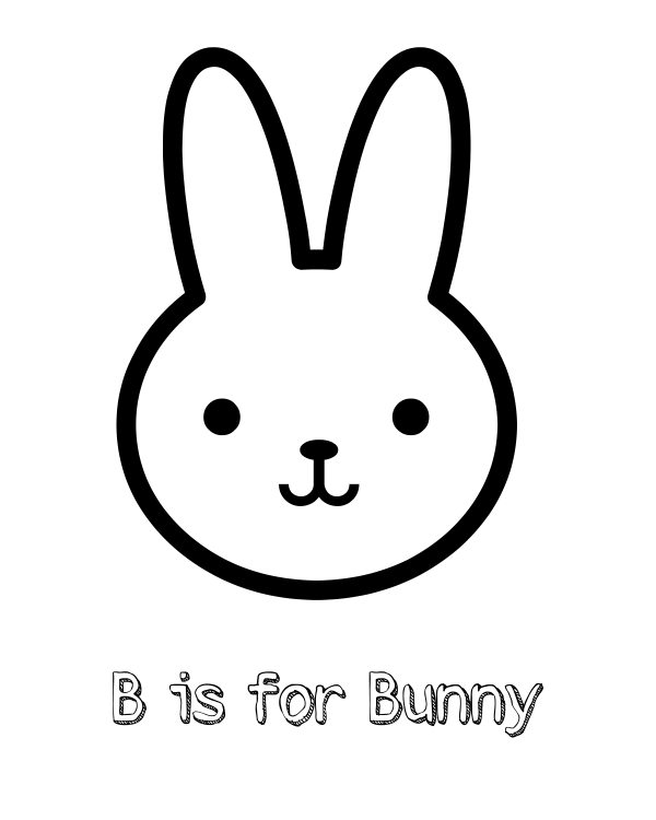 Free Printable B is for Bunny Coloring Page