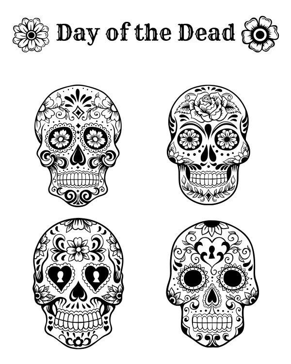 Free printable day of the dead coloring page mama likes this for Day of the dead color pages