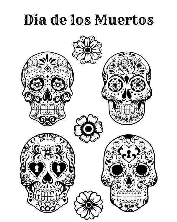 Free Printable Dia De Los Muertos Coloring Page #freeprintable #printable #diadelosmuertos #dayofthedead #sugarskull #coloringpage #halloween