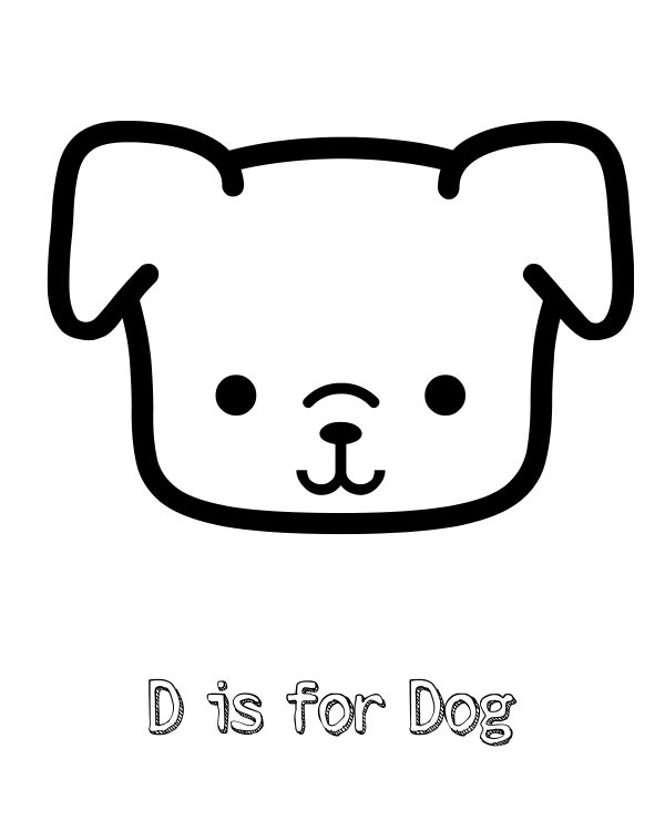 Free Printable D is for Dog Coloring Page