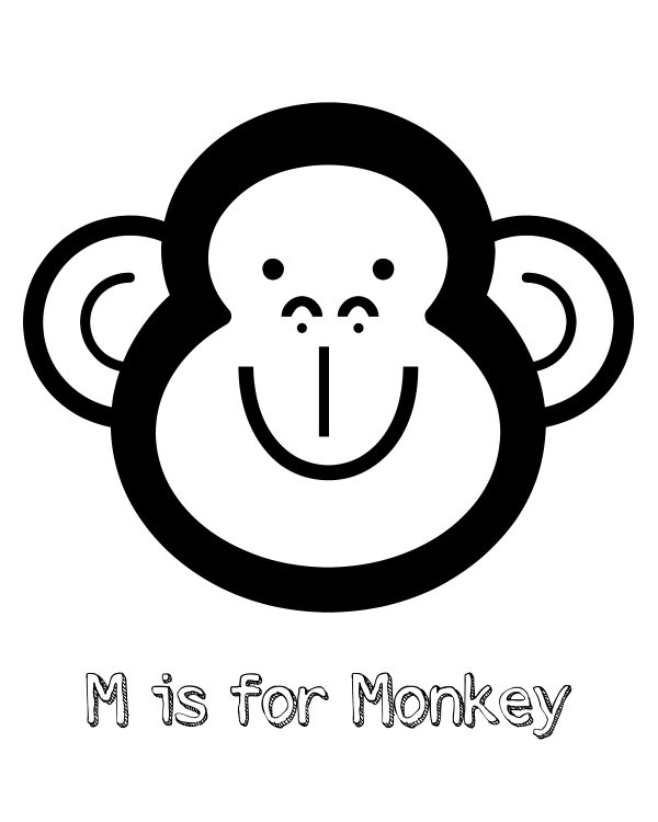 m for monkey coloring pages - photo #23