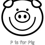 Free Printable P is for Pig Coloring Page