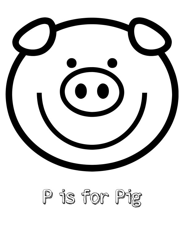 Free Printable P is for Pig Coloring Page | Mama Likes This