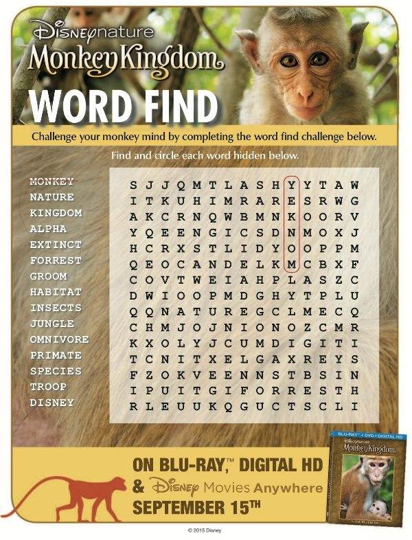 Free Printable Disneynature Monkey Kingdom Word Search