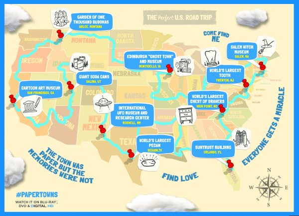 paper towns printable road trip map mama likes this