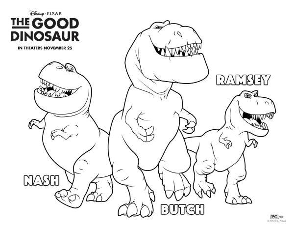 The Good Dinosaur Nash, Butch & Ramsey Coloring Page