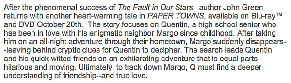 Paper Towns synopsis