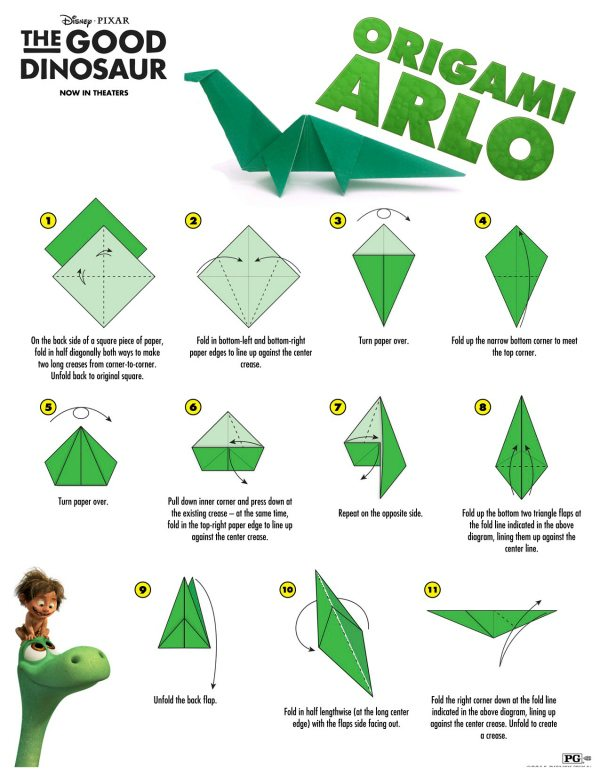 Disney The Good Dinosaur Arlo Origami Craft Instructions ... - photo#7