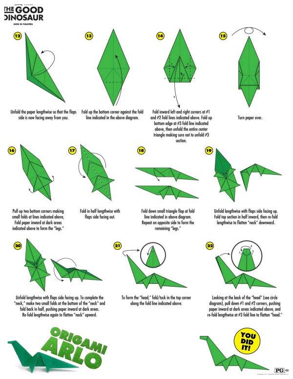 Disney The Good Dinosaur Arlo Origami Craft Instructions