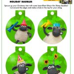 Free Printable Shaun the Sheep Christmas Ornaments