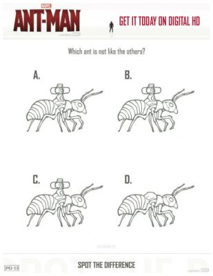 Printable Marvel Ant Man Spot The Difference Coloring Page