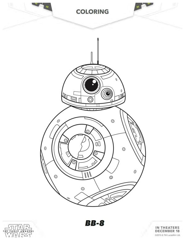 bb 8 coloring page - star wars the force awakens bb 8 coloring page mama