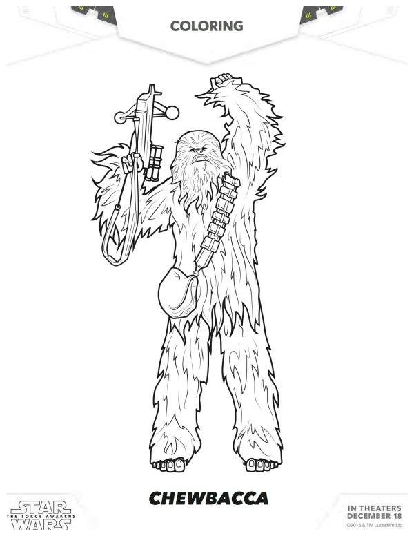 Star Wars The Force Awakens Chewbacca Coloring Page
