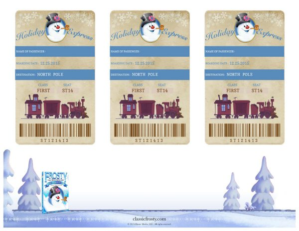 Frosty the Snowman Free Printable Holiday Express Train Tickets