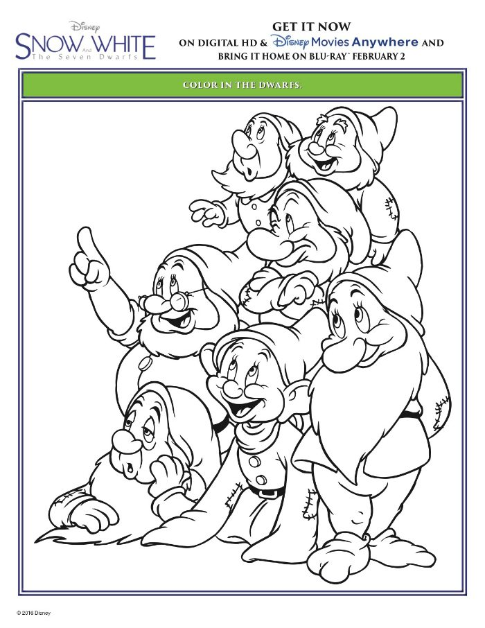 snow white and the seven dwarfs coloring page mama likes