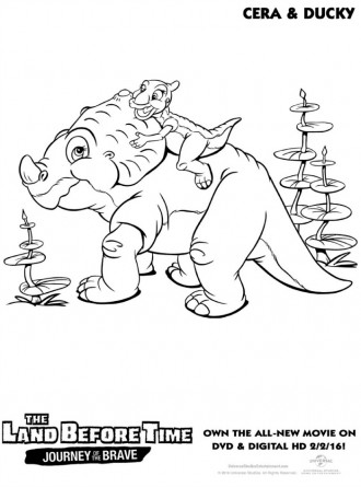 Land Before Time Cera and Ducky Coloring Page