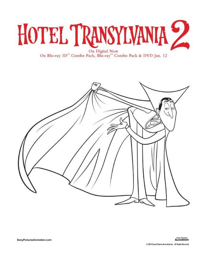 Halloween Dracula Coloring Page from Hotel Transylvania