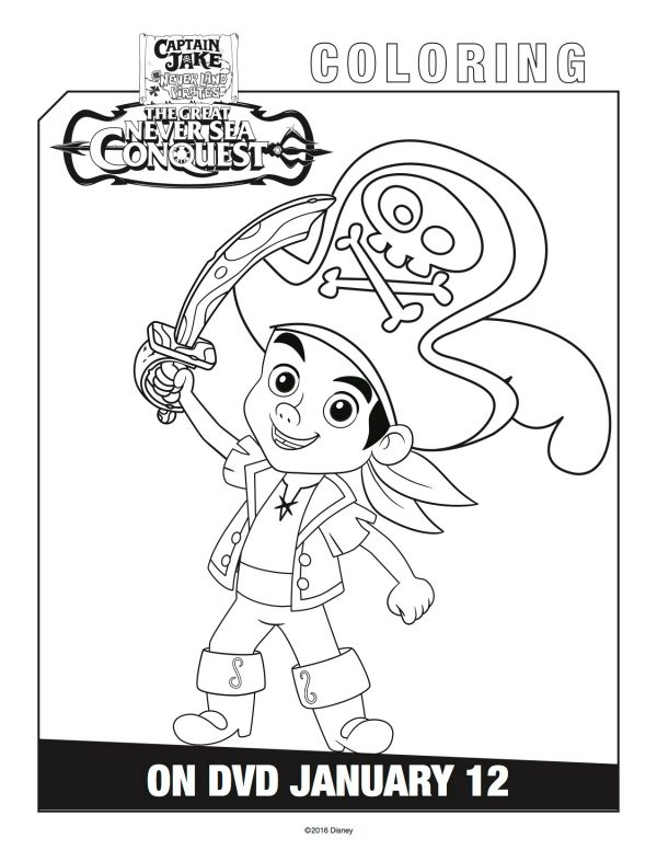 jake and the neverland pirates coloring pages - disney captain jake and the neverland pirates coloring